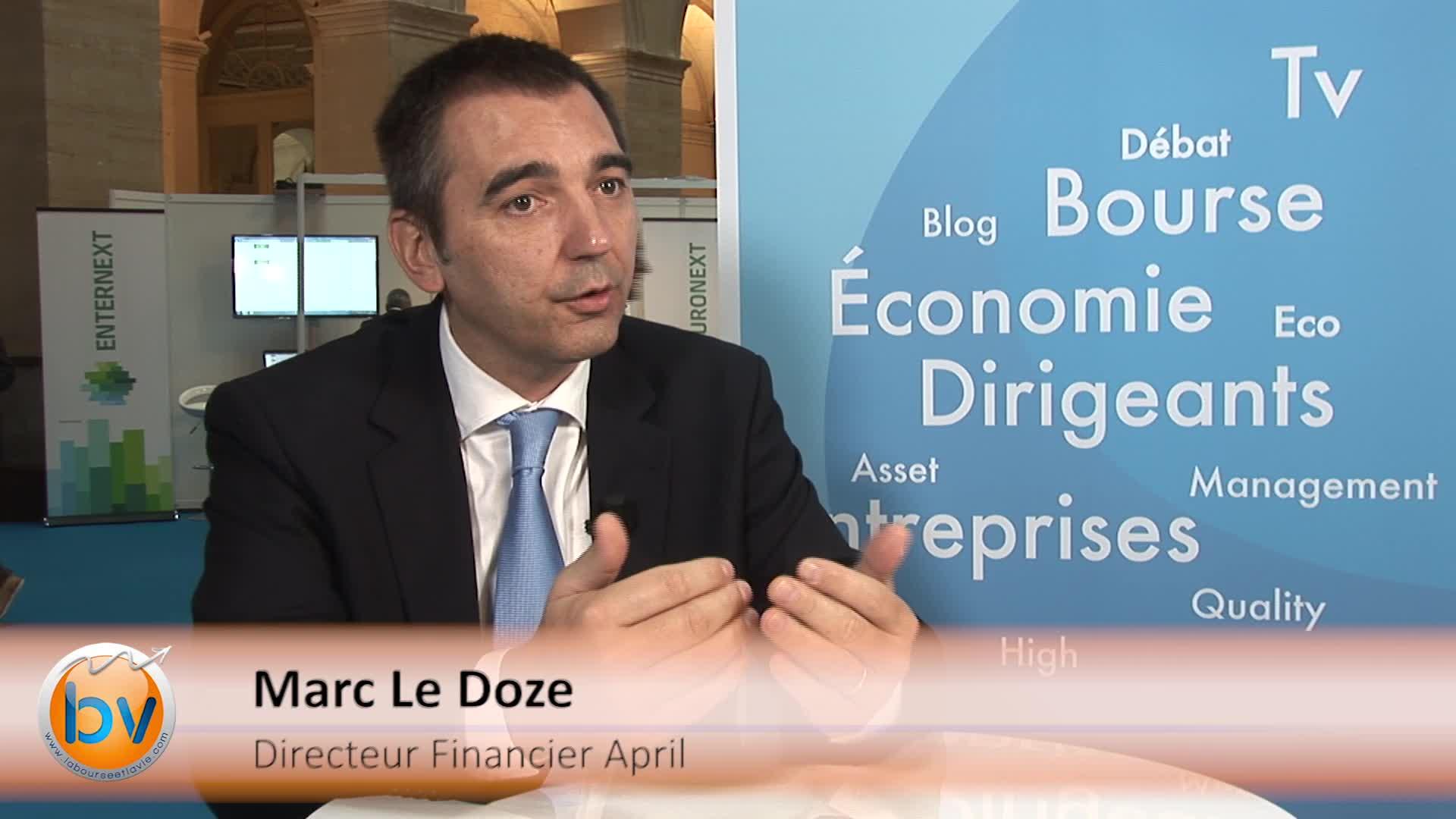 """Marc Le Doze Directeur Financier April : """"Nous allons proposer à des assureurs et banques nos produits et services"""""""