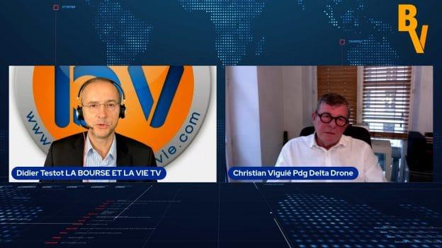 Christian Viguier Pdg Delta Drone avec Didier Testot LA BOURSE ET LA VIE TV (Tous droits réservés 2021)