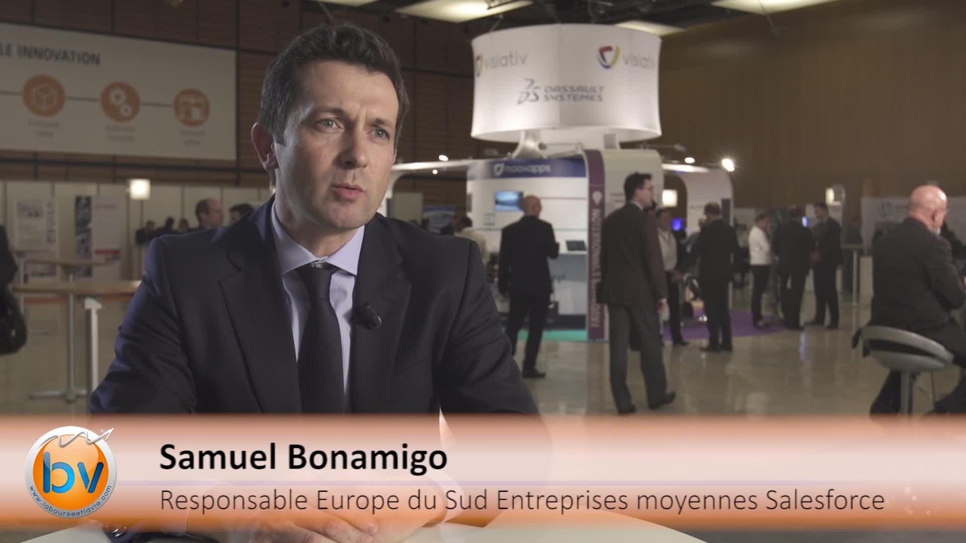 """Samuel Bonamigo Responsable commercial Europe du Sud Valeurs moyennes Salesforce : """"l'Europe est le moteur de la croissance"""""""